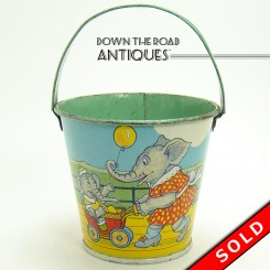 Tin Candy Pail with Elephants & Pigs