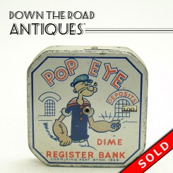 Lithographed tin registering bank with Popeye, Wimpy, Olive Oyl