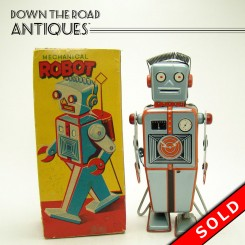 Linemar mechanical robot wind-up toy with easel back and original lithographed box
