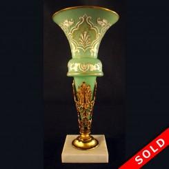 Victorian enameled glass trumpet vase with gilt bronze holder
