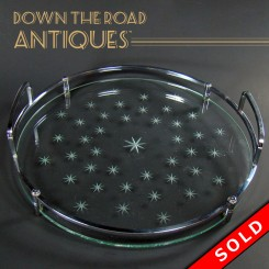 Art Deco serving tray with cut glass stars and chrome handles