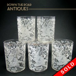 Set of six etched whisky glasses with parrots and floral pattern, circa 1880's