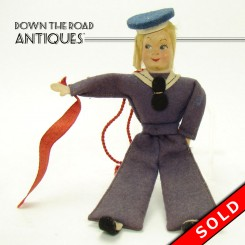Composition and felt Navy sailor doll, Conte Biancamano cruise ship souvenir