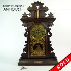 Ingraham Black Walnut Gingerbread Clock