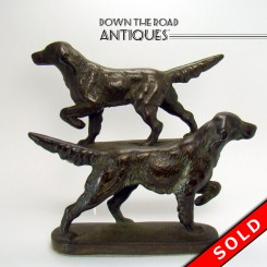 Bronzed Cast Iron Hunting Dog Bookends
