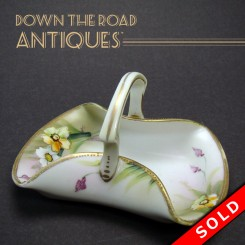 Hand painted Nippon porcelain dresser dish or pin tray with floral design and handle