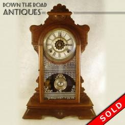 Victorian walnut gingerbread Waterbury clock