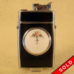 Evans Compact and Cigarette Case, Black with Enameled Guilloche
