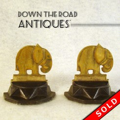 Iron and Brass Elephant Bookends