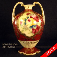 Hand-painted signed Nippon porcelain vase with two handles