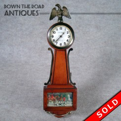 New Haven Miniature Banjo Clock with Eagle Finial