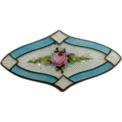 Sterling and Enamel Pin with Rose Center & Unusual Shape -1920's