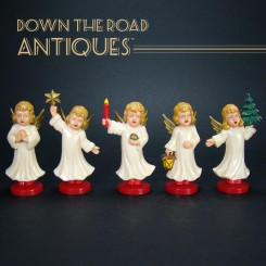 Vintage German Angels Christmas Decorations - Set of Five