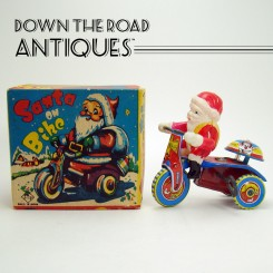 Celluloid and Tin Santa Claus on Tricycle Wind-up Toy - Mint in Box