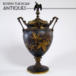 Bronzed Urn with Dragonflies, Crowned Eagle and Raspberries - 1870's