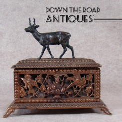 Solid Bronze Jewelry Casket with Deer and Birds - 1880's