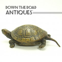 Bronze Turtle Ink Well with Porcelain Insert