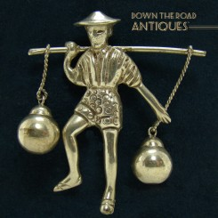 Solid Sterling Brooch - Man Carrying Water Jugs