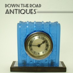 Art Deco Table Clock with Frosted Blue Glass, Bakelite and Chrome