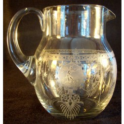 Blown Glass Water Pitcher Etched with Musicians and Dancers - 1880's