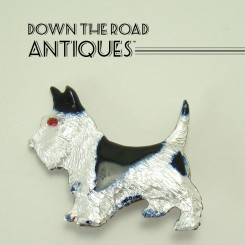 Sterling Enameled Scotty Dog Pin - 1940's