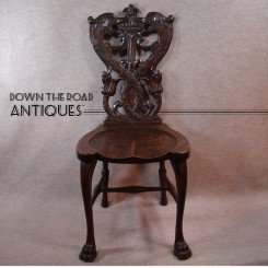 Hand-Carved Quarter-sawn Oak Chair with Serpents and Claw Feet - 1880's