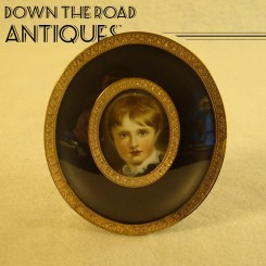 Small Oval Convex Picture of Child and Frame - 1920's
