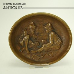 Solid Bronze Pin Tray Depicting Two Boys Smoking - 1910