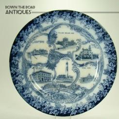 Flow Blue Souvenir Plate from Atlantic City, New Jersey - 1890's