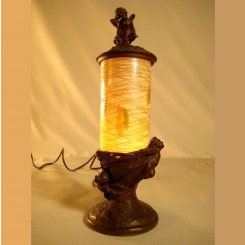 Large Durand Figural Art Glass Perfume Lamp