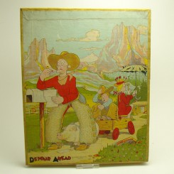 Farmer cowboy jigsaw puzzle, Detour Ahead lithograph by Don Bloodgood