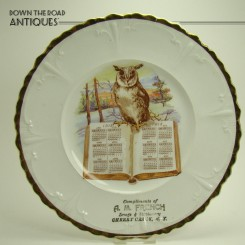 Porcelain calendar advertising plate with hand-painted owl on book for A & M French Drugs and Stationery from Cherry Creek, New York
