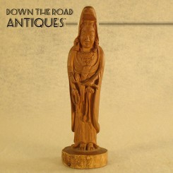 Carved Wood Asian Goddess Figurine - 1910