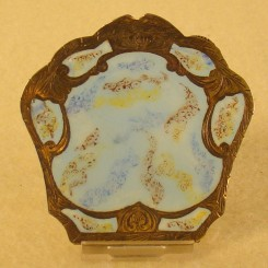 Engraved Silver Enameled Italian Compact (800 Silver)