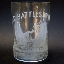 Etched Whiskey Glass - U.S. Battleship Maine Souvenir