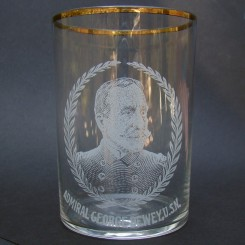 Admiral George Dewey U.S.N. Etched Whiskey Glass