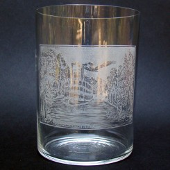 Etched Drinking Glass Souvenir of Jamestown Paddle Steamer