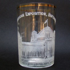 Pan American Exposition Whiskey Glass Souvenir - Manufacturers and Liberal Arts Building