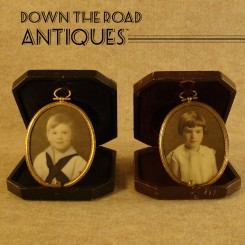 Miniature Boy & Girl Portraits on Glass with Leather Cases - 1890's