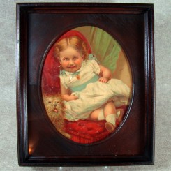 Victorian Walnut Framed Oval Chromolith - Child and Dog
