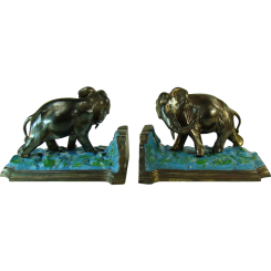 Bronzed Ronson Elephant Bookends