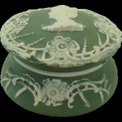 Jasperware Pin Tray - Green and White