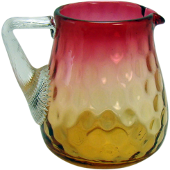 Amberina Glass Pitcher with Applied Handle - Inverted Thumbprint - 1890's