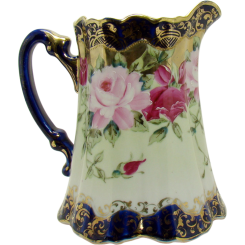 Nippon Porcelain Cobalt Blue Milk Pitcher with Roses