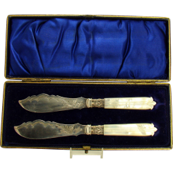 Sterling and Mother of Pearl Knife Set - Mint in Box - 1880's