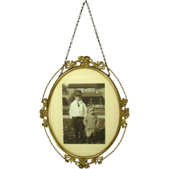 Brass Oval Picture Frame with Photo - Early 1900's