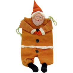 Felt and Celluloid Santa Claus Christmas Candy Container