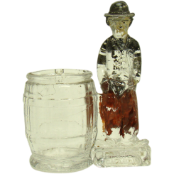 Charlie Chaplin Glass Candy Container - 1930's