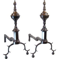 Federal Andirons with Finials on Paneled Plinths - 1800's