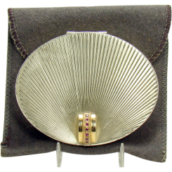 Sterling Compact with Sunburst Design and 14K Gold Ruby & Clasp
